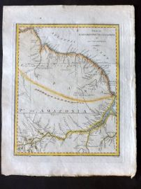 Cary 1801 Hand Col Map. Surinam, Barbutius & Cayenne in South America